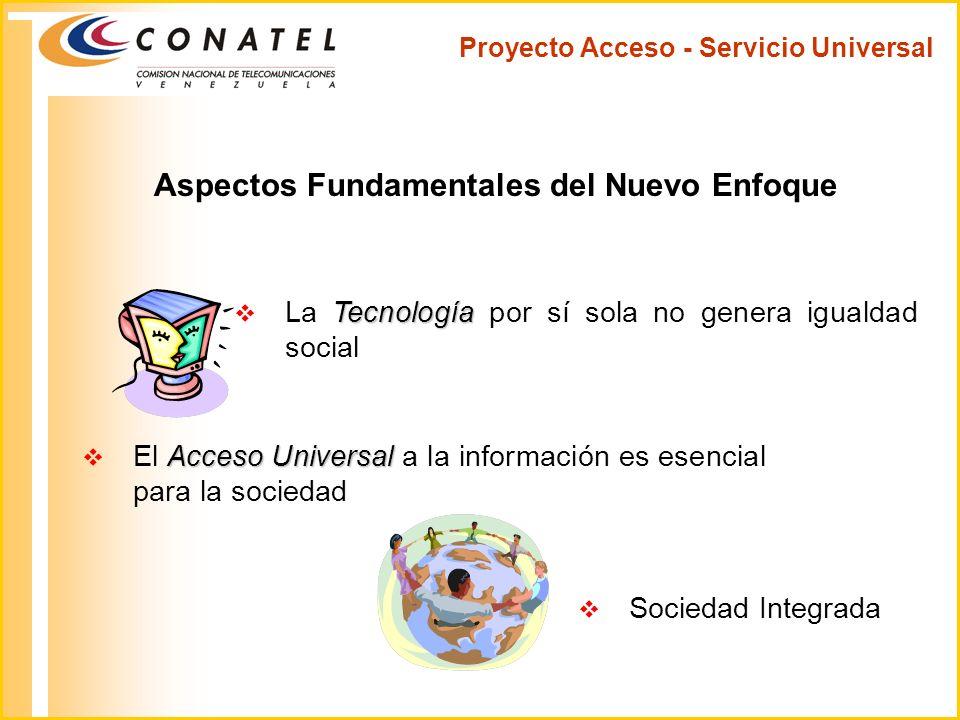 Proyecto Acceso - Servicio Universal Aspectos Fundamentales del Nuevo Enfoque Sociedad Integrada Tecnología La Tecnología por sí sola no genera iguald