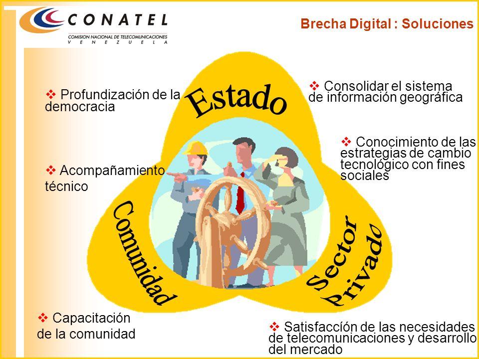 Brecha Digital : Soluciones Profundización de la democracia Conocimiento de las estrategias de cambio tecnológico con fines sociales Capacitación de l