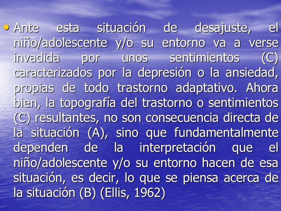 Ante esta situación de desajuste, el niño/adolescente y/o su entorno va a verse invadida por unos sentimientos (C) caracterizados por la depresión o l