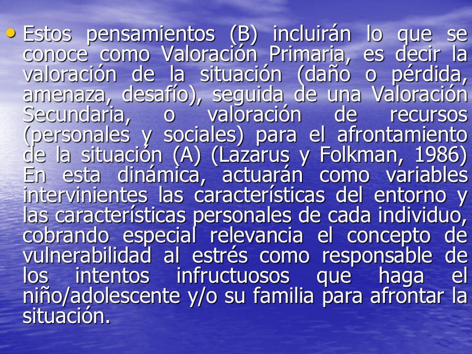 Estos pensamientos (B) incluirán lo que se conoce como Valoración Primaria, es decir la valoración de la situación (daño o pérdida, amenaza, desafío),