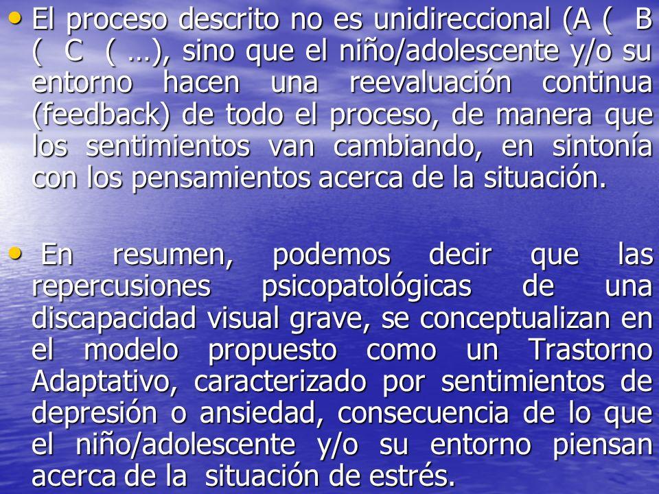 El proceso descrito no es unidireccional (A ( B ( C ( …), sino que el niño/adolescente y/o su entorno hacen una reevaluación continua (feedback) de to