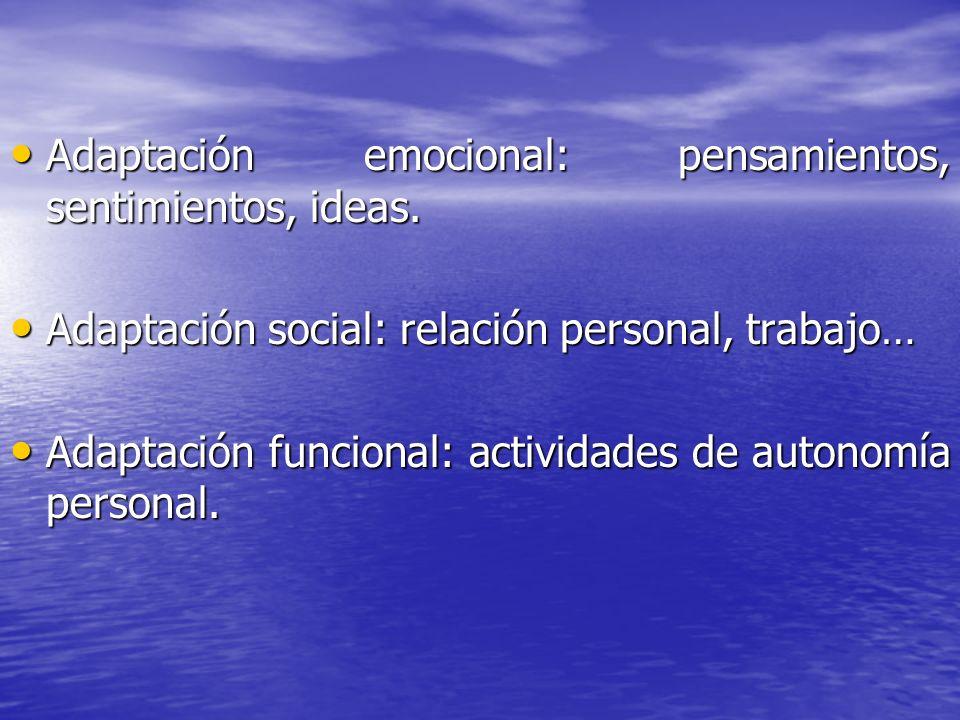 Adaptación emocional: pensamientos, sentimientos, ideas. Adaptación emocional: pensamientos, sentimientos, ideas. Adaptación social: relación personal