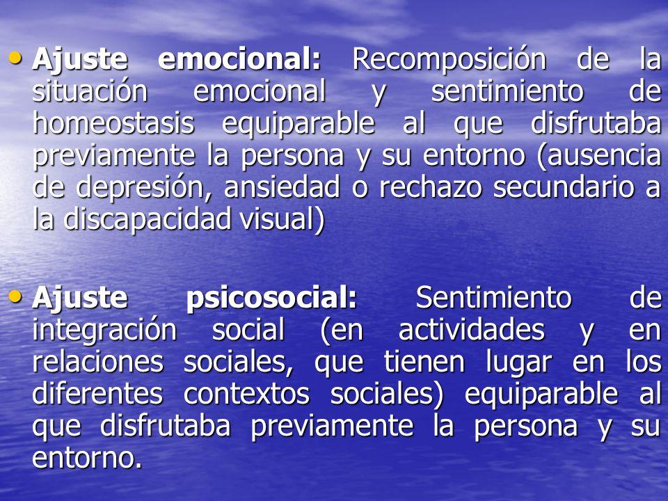 Ajuste emocional: Recomposición de la situación emocional y sentimiento de homeostasis equiparable al que disfrutaba previamente la persona y su entor