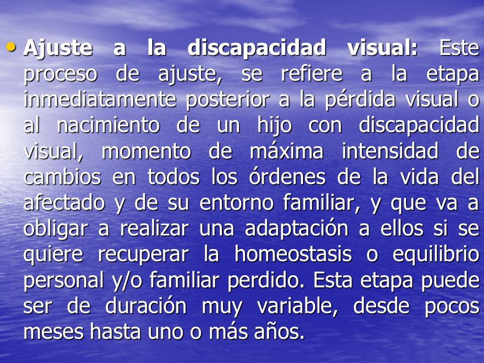 Ajuste a la discapacidad visual: Este proceso de ajuste, se refiere a la etapa inmediatamente posterior a la pérdida visual o al nacimiento de un hijo
