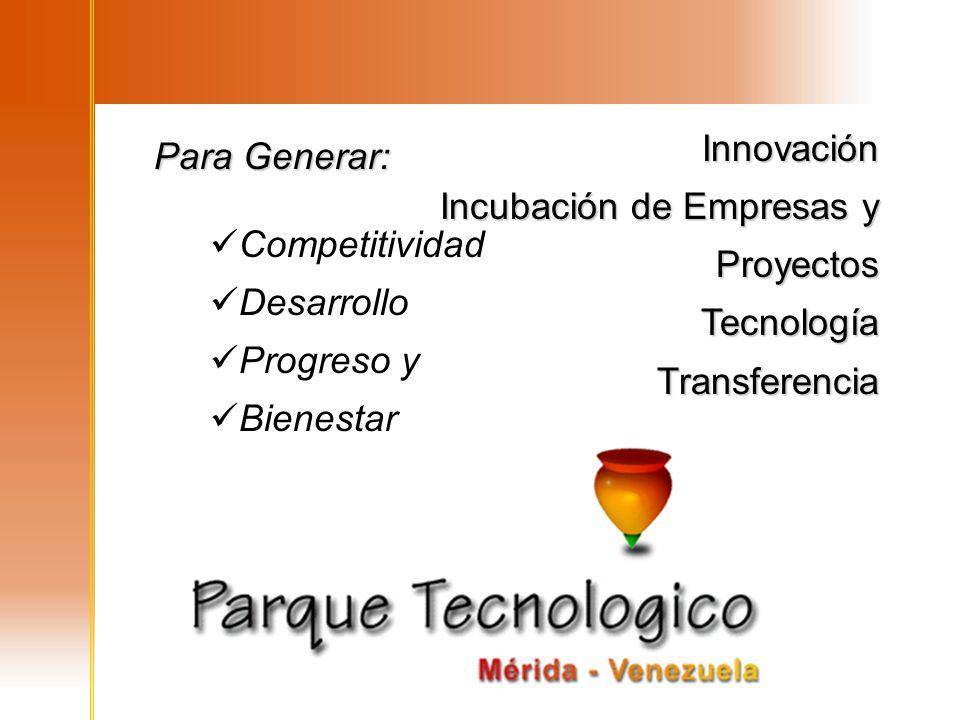 Innovación Incubación de Empresas y Proyectos TecnologíaTransferenciaInnovación TecnologíaTransferencia Competitividad Desarrollo Progreso y Bienestar