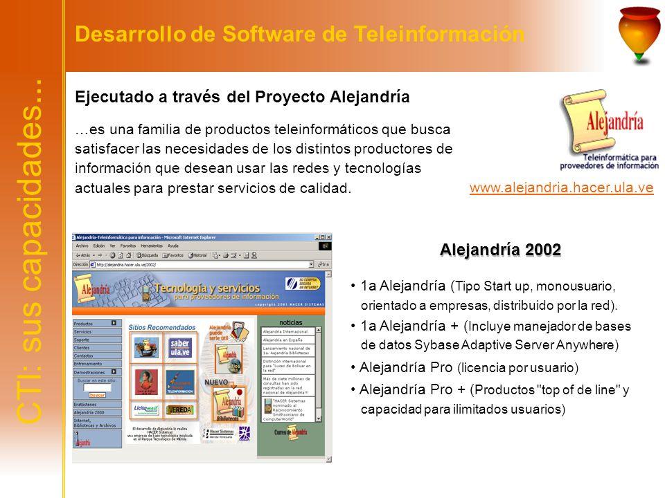 CTI: sus capacidades... Desarrollo de Software de Teleinformación Ejecutado a través del Proyecto Alejandría …es una familia de productos teleinformát
