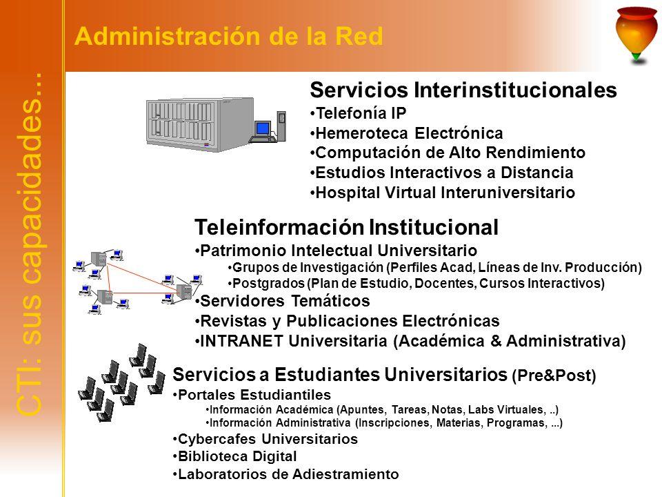 CTI: sus capacidades... Administración de la Red Servicios Interinstitucionales Telefonía IP Hemeroteca Electrónica Computación de Alto Rendimiento Es