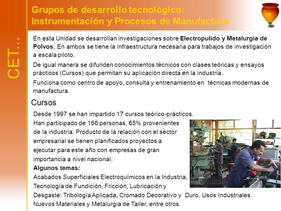 Grupos de desarrollo tecnológico: Instrumentación y Procesos de Manufactura En esta Unidad se desarrollan investigaciones sobre Electropulido y Metalu
