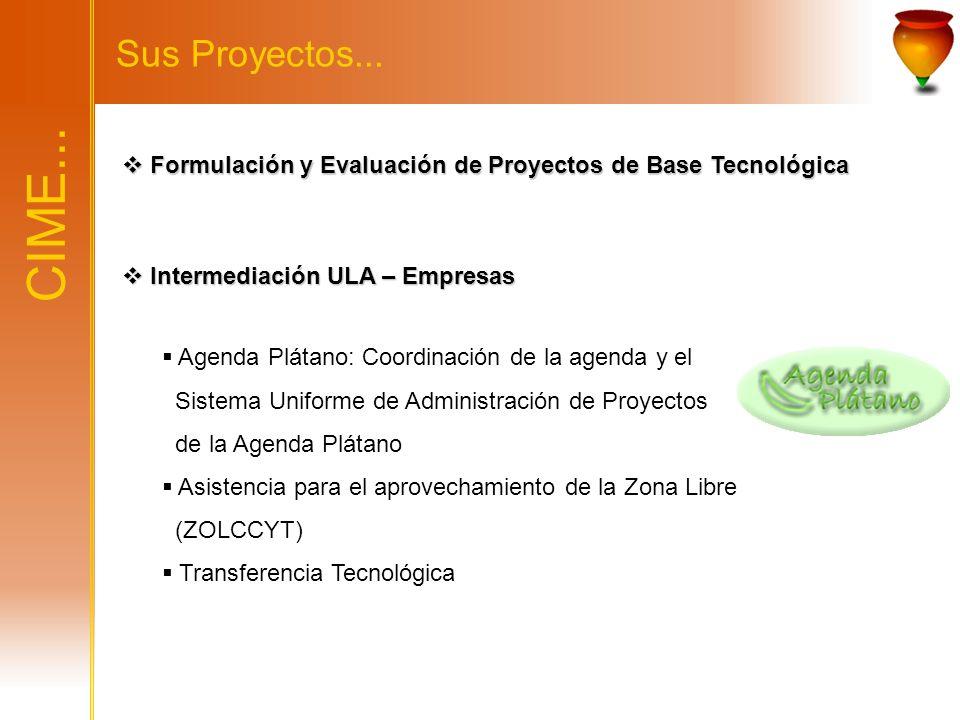 CIME... Sus Proyectos... Formulación y Evaluación de Proyectos de Base Tecnológica Formulación y Evaluación de Proyectos de Base Tecnológica Intermedi