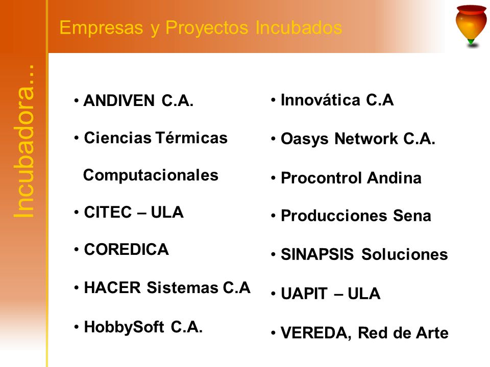 Incubadora... Empresas y Proyectos Incubados ANDIVEN C.A. Ciencias Térmicas Computacionales CITEC – ULA COREDICA HACER Sistemas C.A HobbySoft C.A. Inn