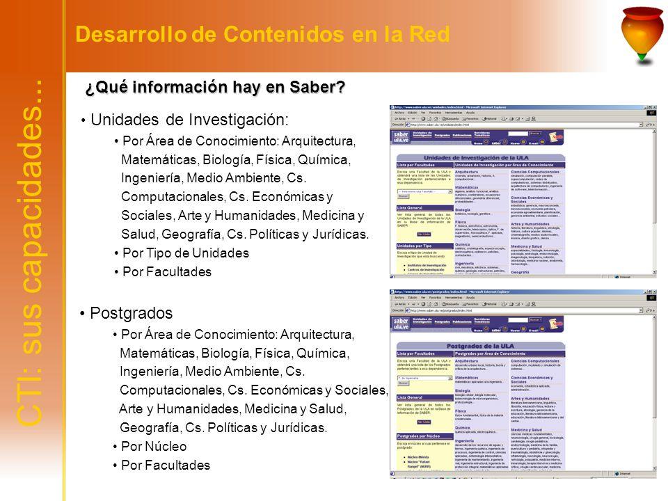 CTI: sus capacidades... Desarrollo de Contenidos en la Red ¿Qué información hay en Saber? ¿Qué información hay en Saber? Unidades de Investigación: Po