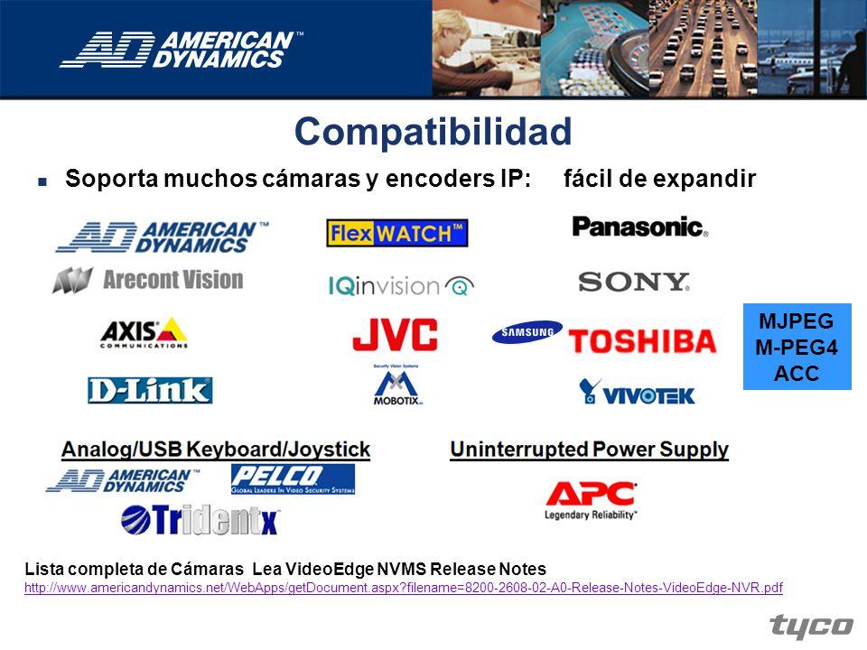 Compatibilidad Soporta muchos cámaras y encoders IP: fácil de expandir MJPEG M-PEG4 ACC Lista completa de Cámaras Lea VideoEdge NVMS Release Notes htt