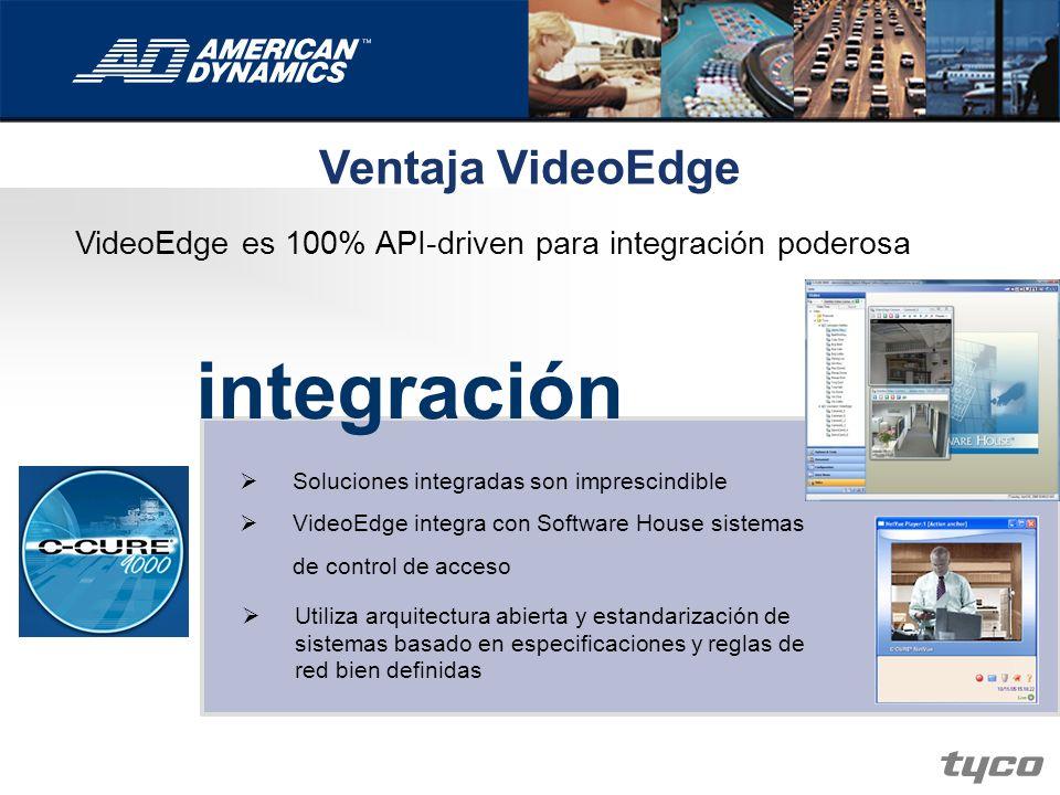 Ventaja VideoEdge VideoEdge es 100% API-driven para integración poderosa integración Soluciones integradas son imprescindible VideoEdge integra con So