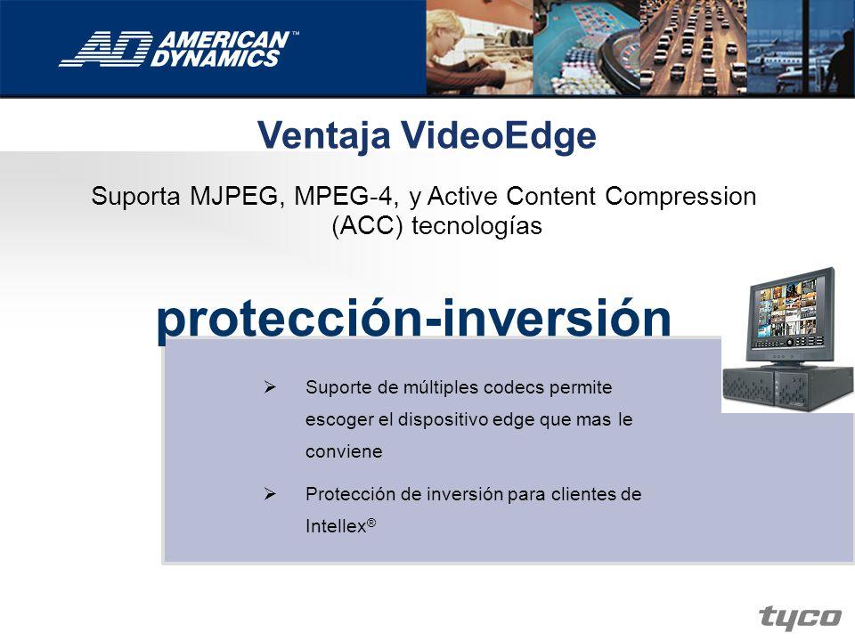 Ventaja VideoEdge Suporta MJPEG, MPEG-4, y Active Content Compression (ACC) tecnologías protección-inversión Suporte de múltiples codecs permite escog