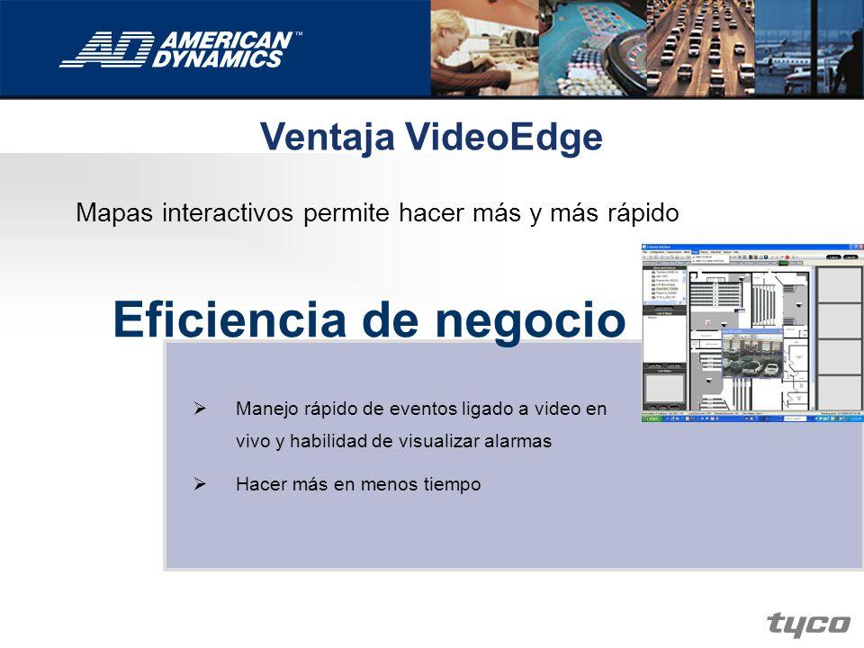 Ventaja VideoEdge Eficiencia de negocio Manejo rápido de eventos ligado a video en vivo y habilidad de visualizar alarmas Hacer más en menos tiempo Ma