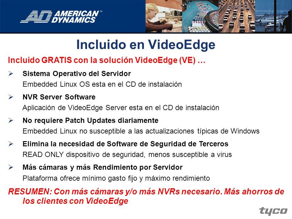 Incluido en VideoEdge Incluido GRATIS con la solución VideoEdge (VE) … Sistema Operativo del Servidor Embedded Linux OS esta en el CD de instalación N