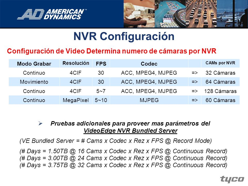 NVR Configuración Configuración de Video Determina numero de cámaras por NVR Pruebas adicionales para proveer mas parámetros del VideoEdge NVR Bundled