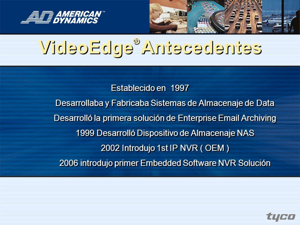 VideoEdge ® Antecedentes Establecido en 1997 Desarrollaba y Fabricaba Sistemas de Almacenaje de Data Desarrolló la primera solución de Enterprise Emai