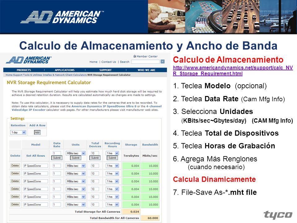 Calculo de Almacenamiento y Ancho de Banda Calculo de Almacenamiento http://www.americandynamics.net/support/calc_NV R_Storage_Requirement.html http:/