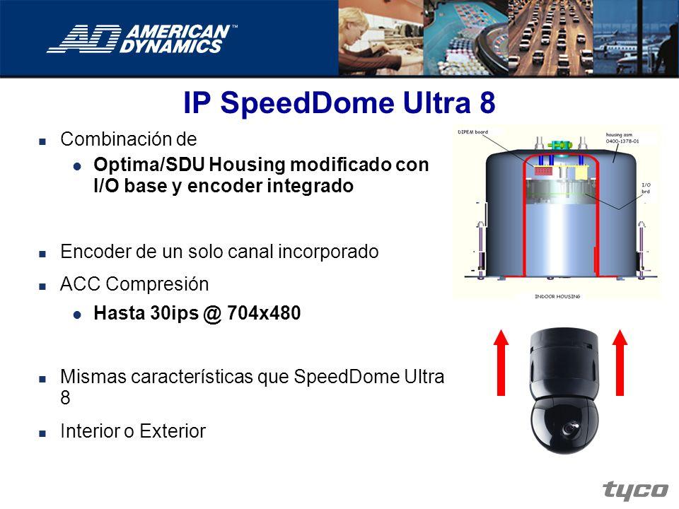 IP SpeedDome Ultra 8 Combinación de Optima/SDU Housing modificado con I/O base y encoder integrado Encoder de un solo canal incorporado ACC Compresión