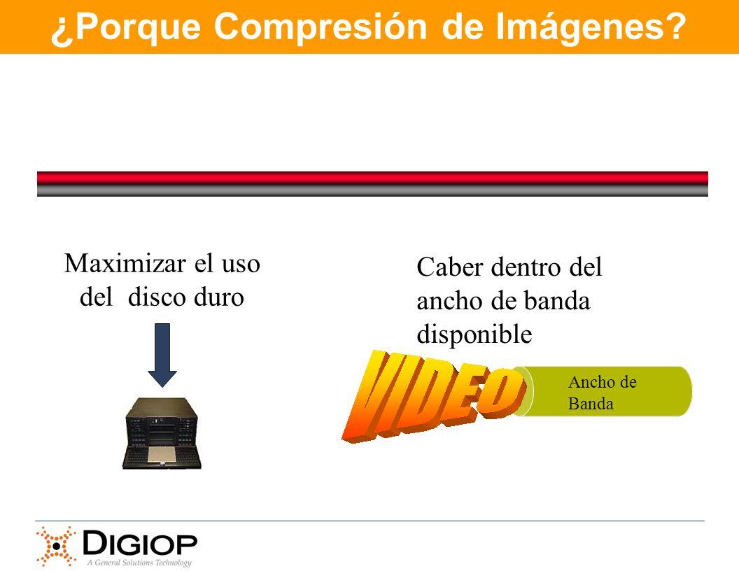 ¿ Porque Compresión de Imágenes? Ancho de Banda Maximizar el uso del disco duro Caber dentro del ancho de banda disponible