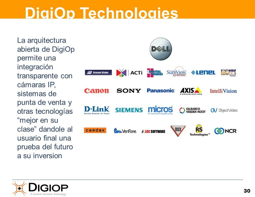 30 La arquitectura abierta de DigiOp permite una integración transparente con cámaras IP, sistemas de punta de venta y otras tecnologías mejor en su c