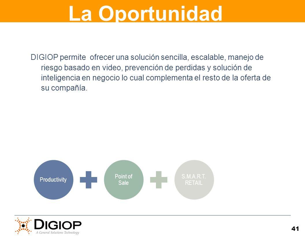 41 DIGIOP permite ofrecer una solución sencilla, escalable, manejo de riesgo basado en video, prevención de perdidas y solución de inteligencia en neg
