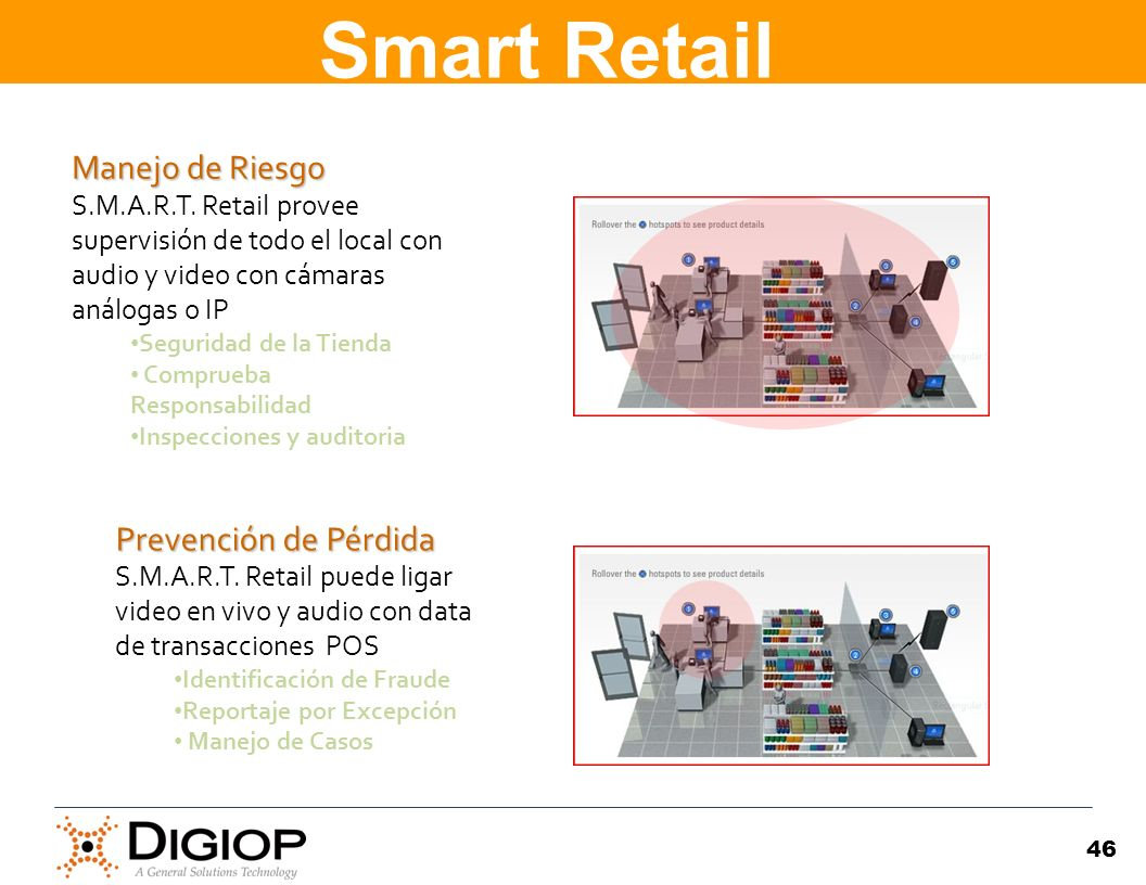46 Manejo de Riesgo Manejo de Riesgo S.M.A.R.T. Retail provee supervisión de todo el local con audio y video con cámaras análogas o IP Seguridad de la