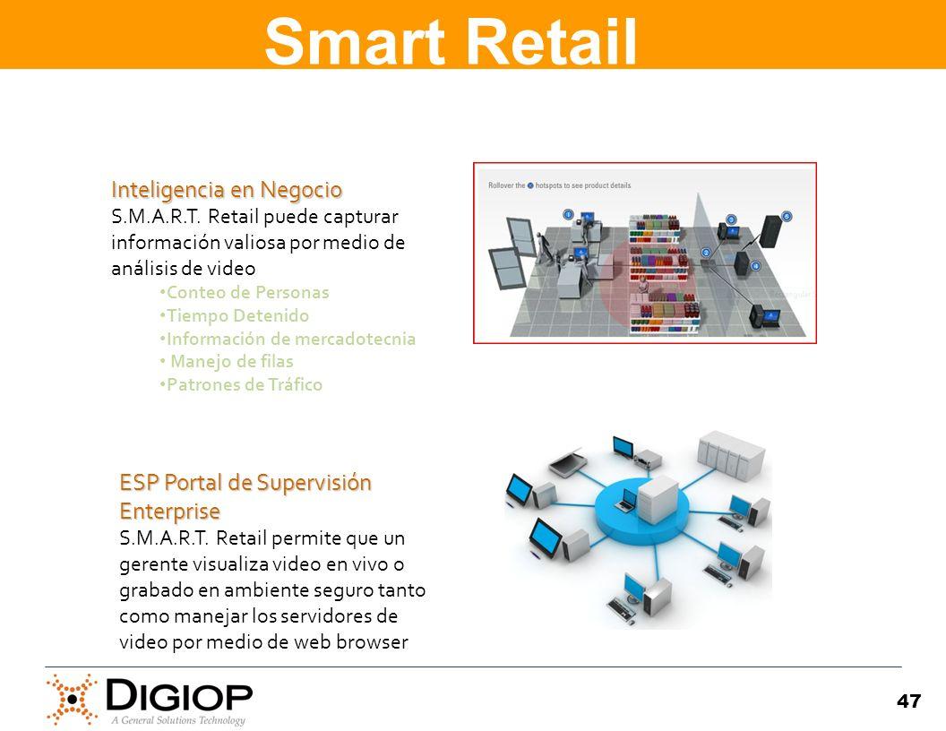 47 Inteligencia en Negocio Inteligencia en Negocio S.M.A.R.T. Retail puede capturar información valiosa por medio de análisis de video Conteo de Perso