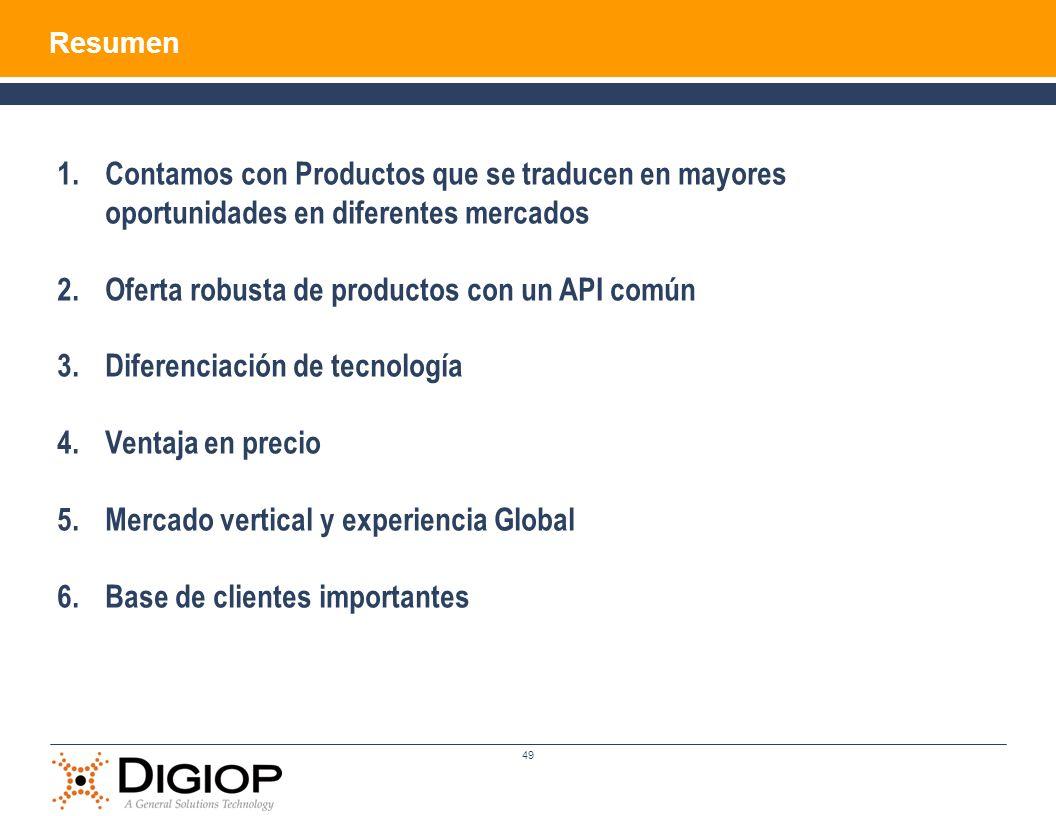 49 1.Contamos con Productos que se traducen en mayores oportunidades en diferentes mercados 2.Oferta robusta de productos con un API común 3.Diferenci