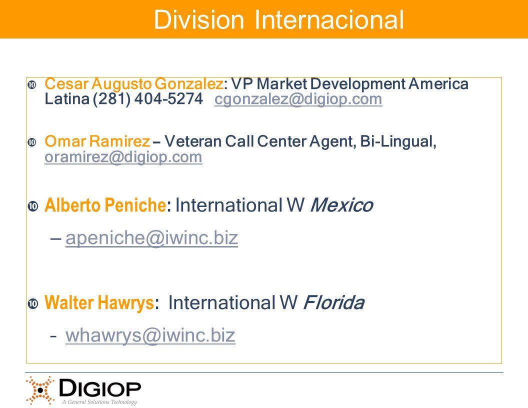 Cesar Augusto Gonzalez: VP Market Development America Latina (281) 404-5274 cgonzalez@digiop.comcgonzalez@digiop.com Omar Ramirez – Veteran Call Cente