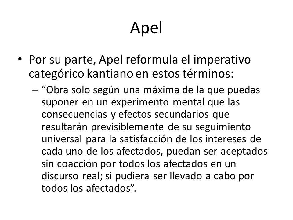 Apel Por su parte, Apel reformula el imperativo categórico kantiano en estos términos: – Obra solo según una máxima de la que puedas suponer en un exp