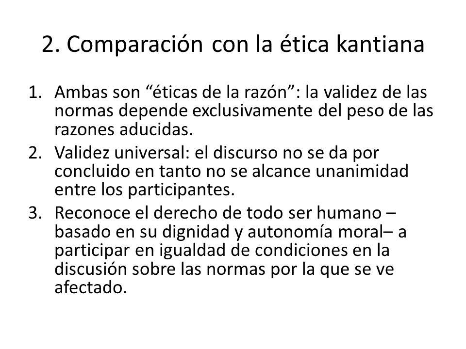 2. Comparación con la ética kantiana 1.Ambas son éticas de la razón: la validez de las normas depende exclusivamente del peso de las razones aducidas.