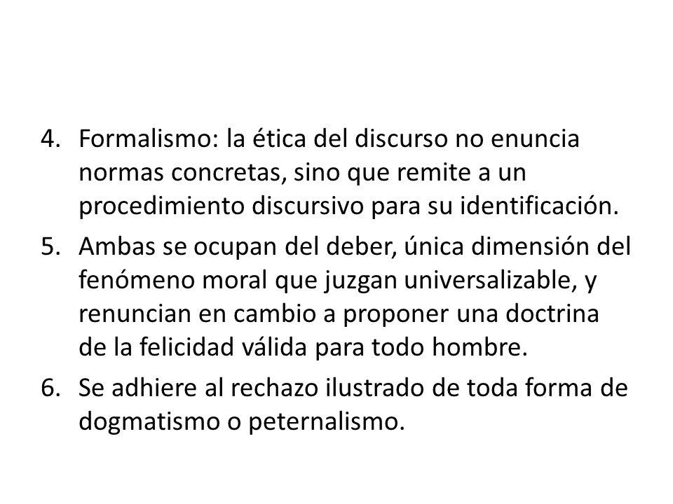 4.Formalismo: la ética del discurso no enuncia normas concretas, sino que remite a un procedimiento discursivo para su identificación. 5.Ambas se ocup