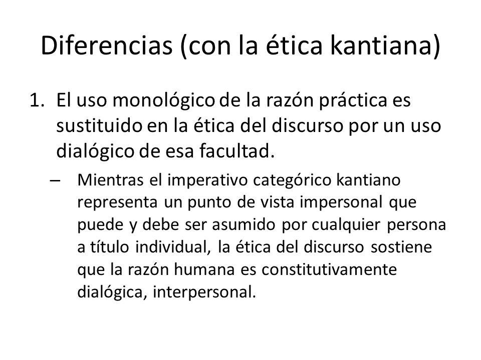 Diferencias (con la ética kantiana) 1.El uso monológico de la razón práctica es sustituido en la ética del discurso por un uso dialógico de esa facult