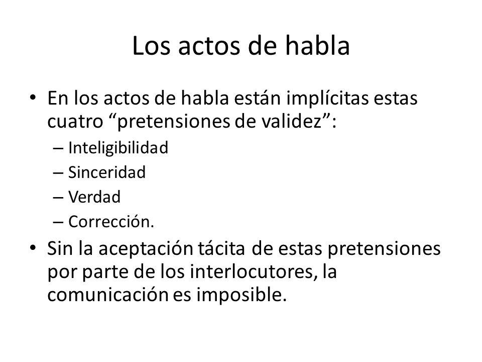 Los actos de habla En los actos de habla están implícitas estas cuatro pretensiones de validez: – Inteligibilidad – Sinceridad – Verdad – Corrección.