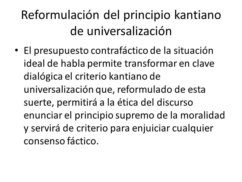 Reformulación del principio kantiano de universalización El presupuesto contrafáctico de la situación ideal de habla permite transformar en clave dial