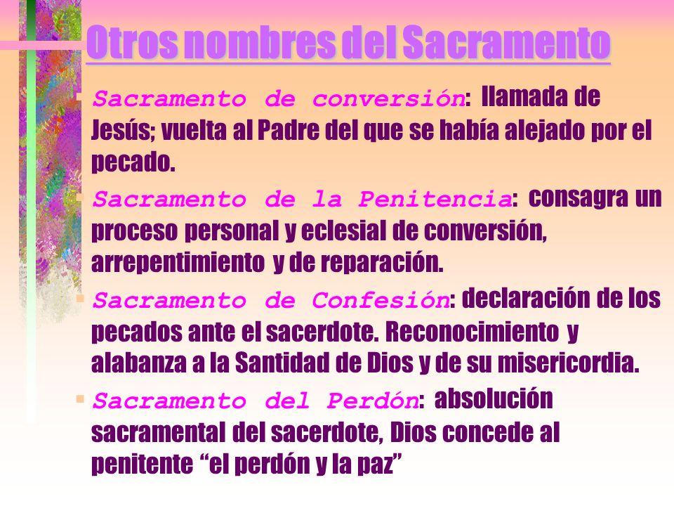 Otros nombres del Sacramento Sacramento de conversión : llamada de Jesús; vuelta al Padre del que se había alejado por el pecado. Sacramento de la Pen