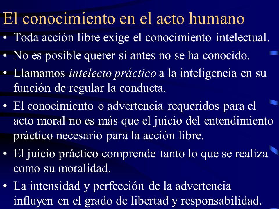 El conocimiento en el acto humano Toda acción libre exige el conocimiento intelectual. No es posible querer si antes no se ha conocido. Llamamos intel