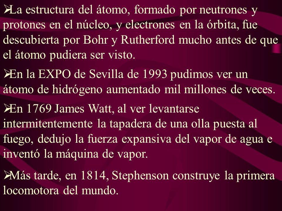 La estructura del átomo, formado por neutrones y protones en el núcleo, y electrones en la órbita, fue descubierta por Bohr y Rutherford mucho antes de que el átomo pudiera ser visto.