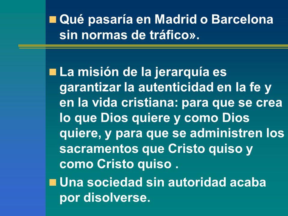 Qué pasaría en Madrid o Barcelona sin normas de tráfico». La misión de la jerarquía es garantizar la autenticidad en la fe y en la vida cristiana: par