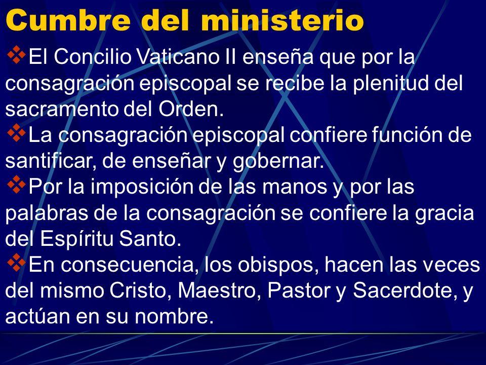 Entre los diversos ministerios que existen en la Iglesia, ocupa el primer lugar el ministerio de los obispos que son los transmisores de la semilla ap