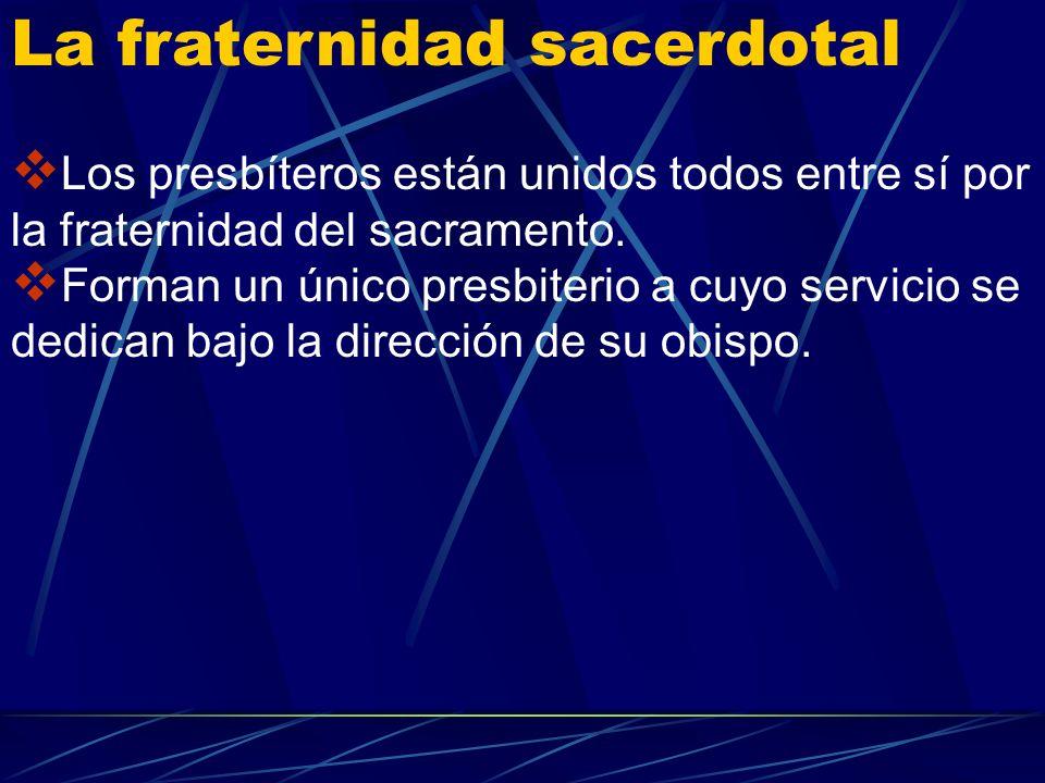 Los presbíteros participan de la universalidad de la misión confiada por Cristo a los apóstoles. El don espiritual que recibieron en la ordenación los