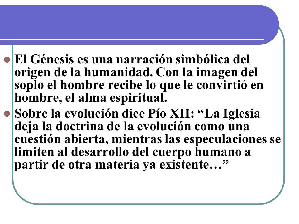 El Génesis es una narración simbólica del origen de la humanidad. Con la imagen del soplo el hombre recibe lo que le convirtió en hombre, el alma espi