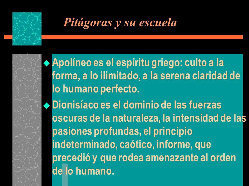 Pitágoras y su escuela Apolíneo es el espíritu griego: culto a la forma, a lo ilimitado, a la serena claridad de lo humano perfecto. Dionisíaco es el