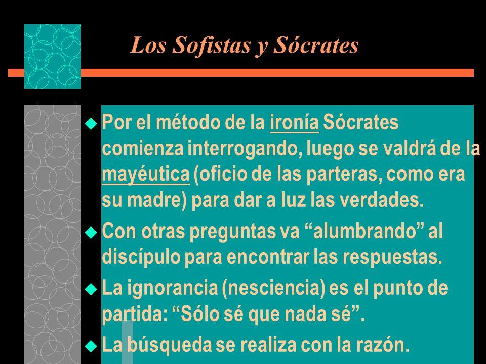 Los Sofistas y Sócrates Por el método de la ironía Sócrates comienza interrogando, luego se valdrá de la mayéutica (oficio de las parteras, como era s