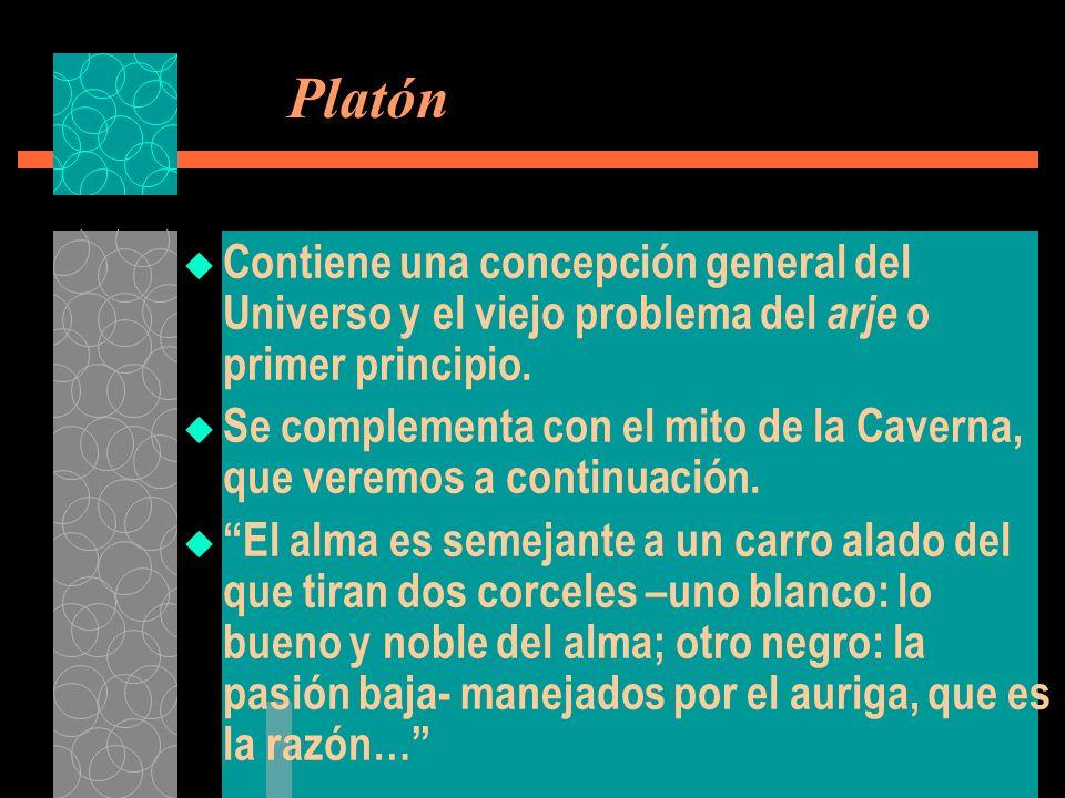 Platón Contiene una concepción general del Universo y el viejo problema del arje o primer principio. Se complementa con el mito de la Caverna, que ver