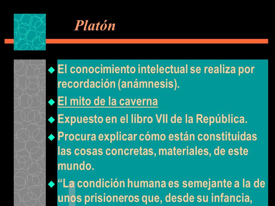 Platón El conocimiento intelectual se realiza por recordación (anámnesis). El mito de la caverna Expuesto en el libro VII de la República. Procura exp