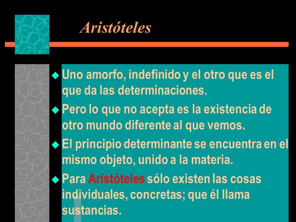 Aristóteles Uno amorfo, indefinido y el otro que es el que da las determinaciones. Pero lo que no acepta es la existencia de otro mundo diferente al q