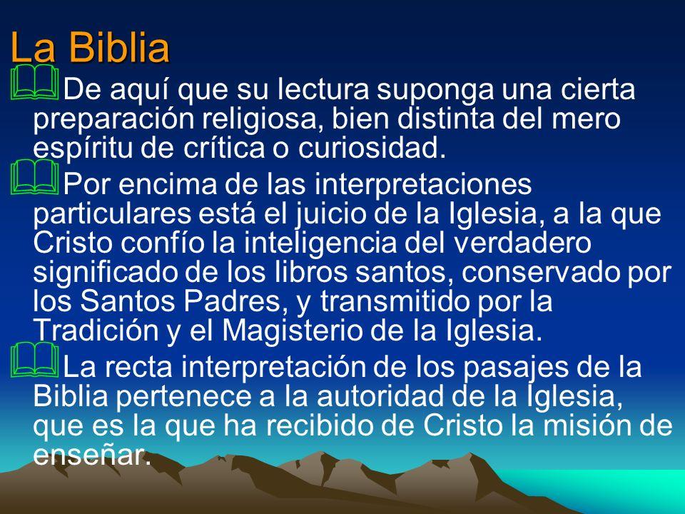 La Biblia De aquí que su lectura suponga una cierta preparación religiosa, bien distinta del mero espíritu de crítica o curiosidad. Por encima de las